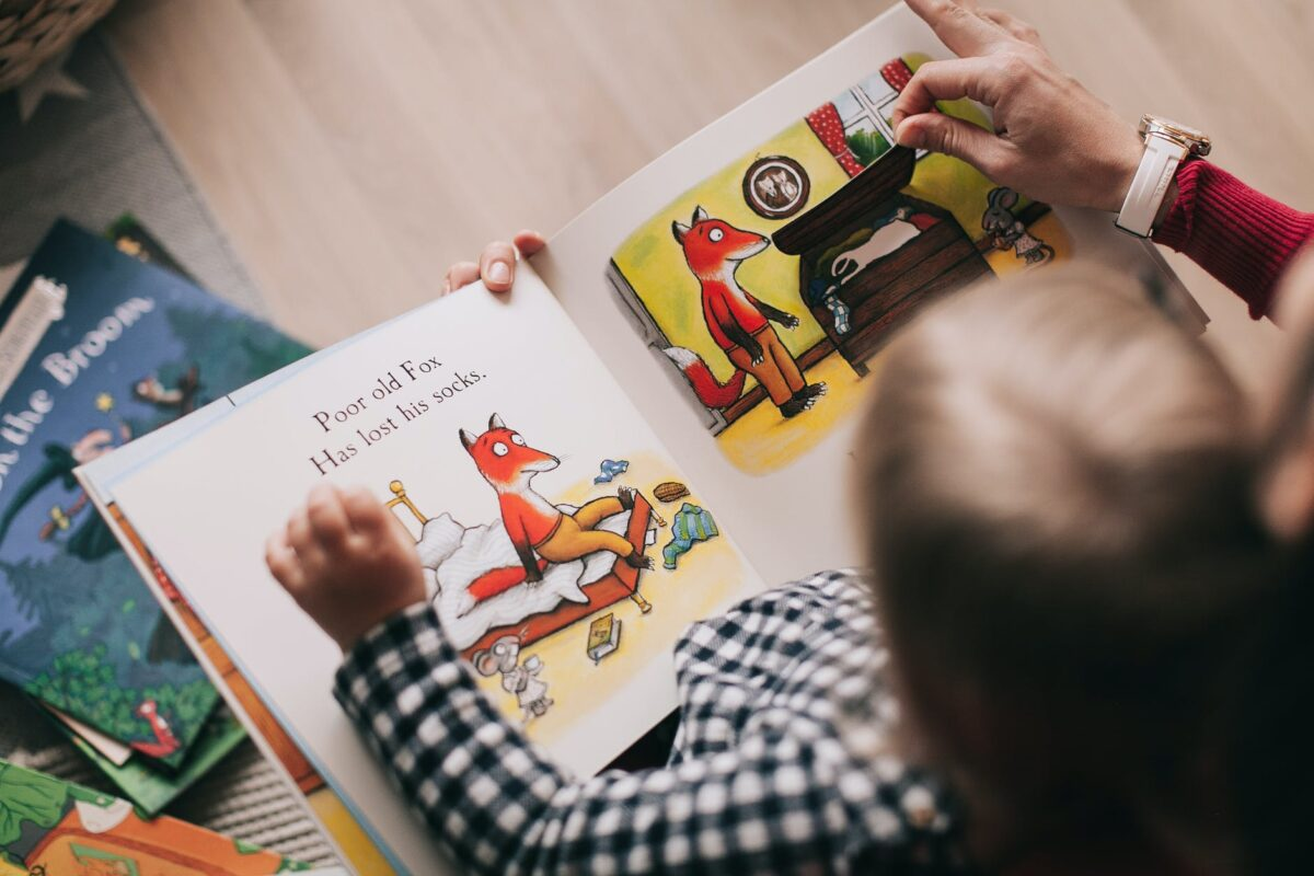 child reading a story